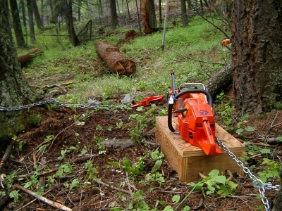 The chainsaw winch in action.